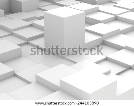 Abstract background of white 3d blocks - stock photo