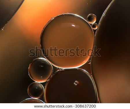 Abstract background, oil droplets on water surface. Beautiful and colorful macro abstraction - stock photo