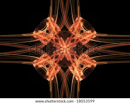 Abstract background. Orange - flame palette. Raster fractal graphics.