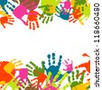 Abstract background, prints of hands of the child - stock vector