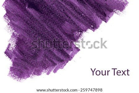 Abstract background, purple watercolor stains on paper texture isolated - stock photo