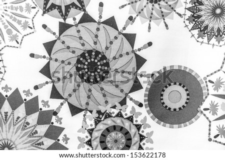Abstract background.Pyrotechnic round rowel Virtual starburst.Black and white