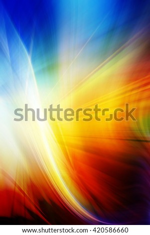 Abstract background representing speed, motion and burst of colors and light in blue, yellow, orange and red colors. - stock photo