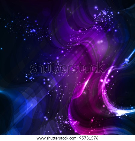 Abstract background, shiny space, futuristic wave illustration