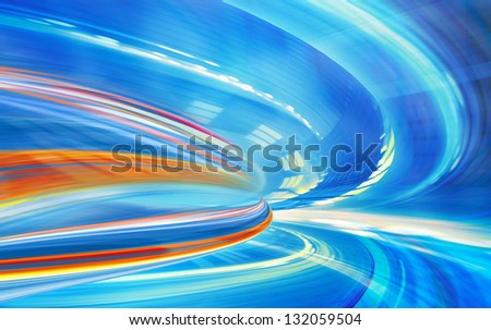 Abstract background, speed motion in urban highway road tunnel, blurred motion toward the light. Computer generated blue futuristic illustration. - stock photo