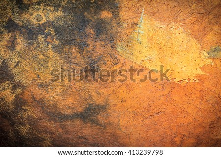 Abstract background texture cement wall in  orange yellow tone. Grunge wall. Cement texture and background with copy space for text or image. Center focus. Blurry edges. Dark edged. - stock photo