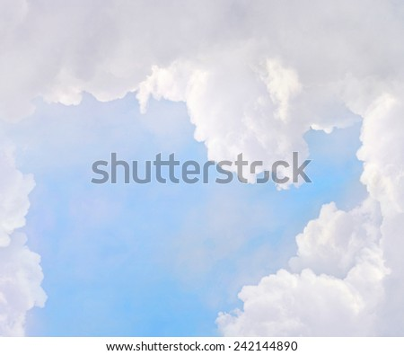 Abstract background, white clouds in blue sky - stock photo