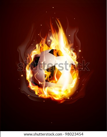 abstract background with a burning football Ball - stock photo