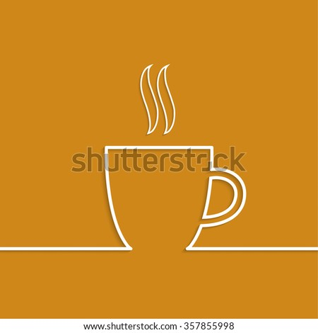 Abstract background with a cup of coffee from a white ribbon and text Coffee house. orange. for menu, restaurant, cafe, bar, coffeehouse. - stock photo