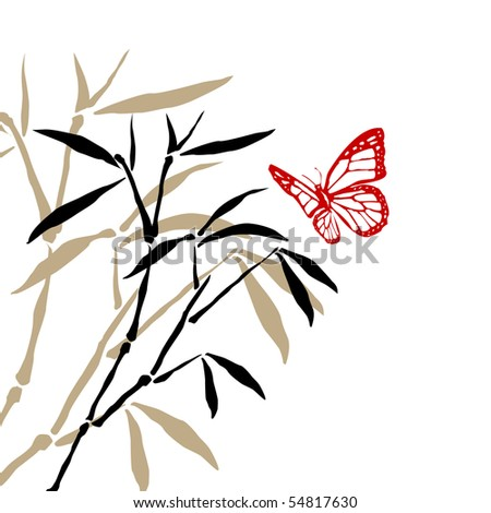 Abstract background with bamboo branchesand butterfly - stock photo