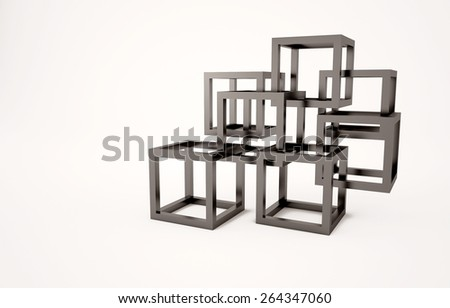 Abstract background with black cubes - stock photo