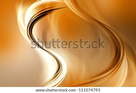 Abstract background with blurred gold lines and waves. Fractal composition of shadows and lights