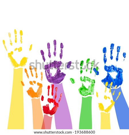 Abstract background with bright multicolored paint handprints - stock photo