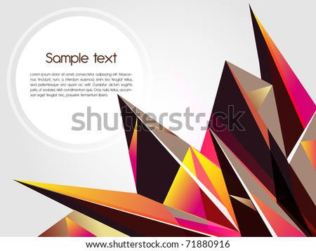 Abstract background with brown pointed shapes and cloud for text - stock photo