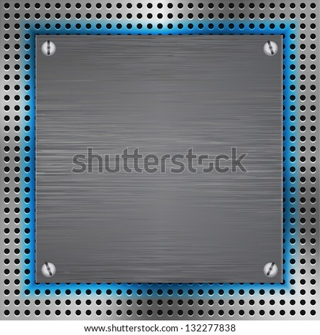 Abstract background with brushed metal inset and blue light