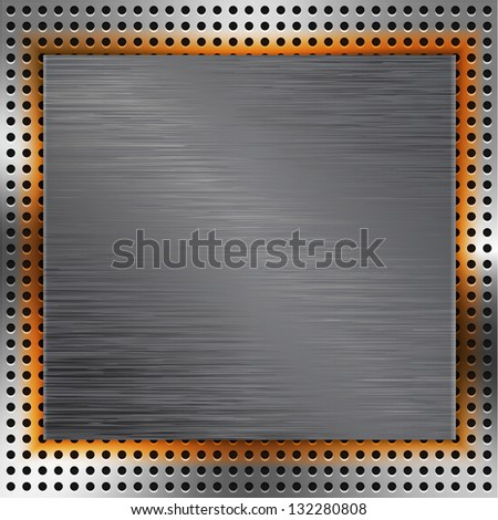 Abstract background with brushed metal inset and orange light. Vector illustration
