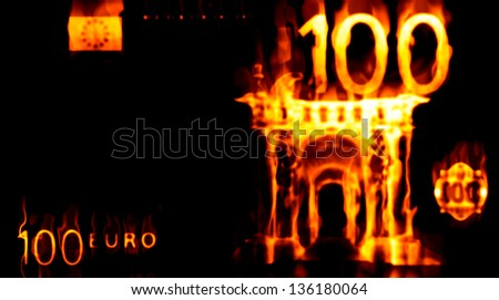 Abstract background with burning money, 100 euro in fire. - stock photo