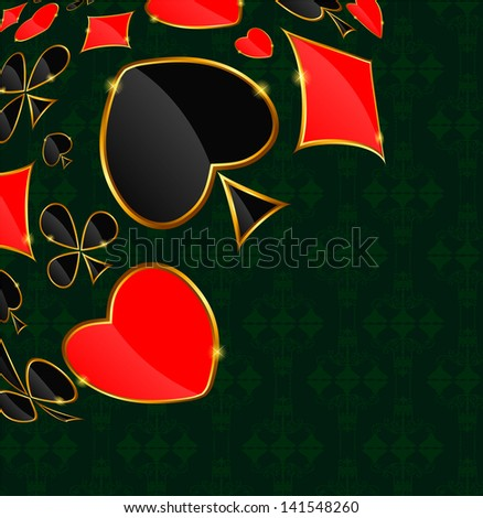 Abstract background with card suits for design.  illustration.