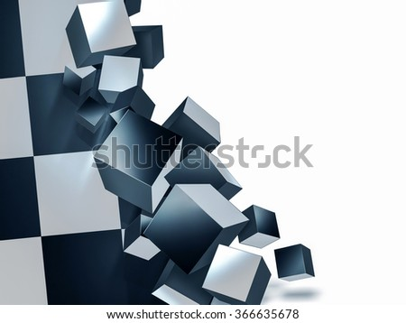 abstract background with chess black and white cubes