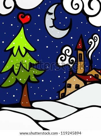 abstract background with Christmas landscape - stock photo