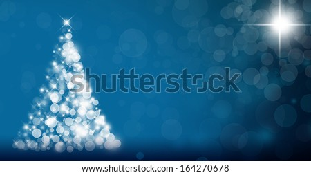 Abstract background with Christmas tree and holiday lights