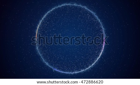 Abstract background with circular shape formed of small particles. Light ray effect