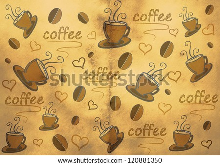 Abstract background with coffee cups beans and hearts - stock photo