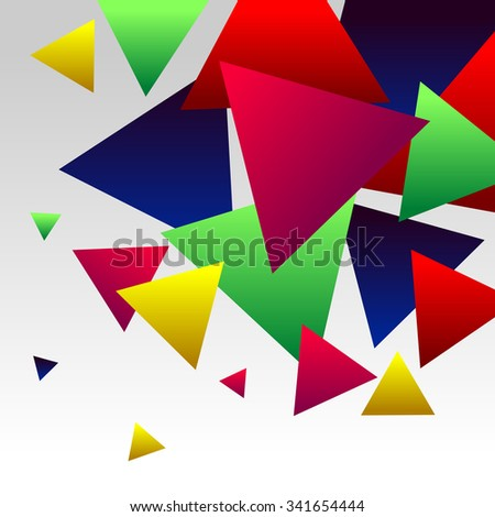 Abstract Background with Colorful Gradient Red, Blue, Green, Pink and Yellow Triangles - stock photo