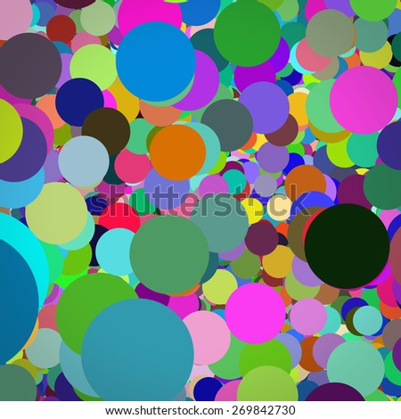 abstract background with colorful polka dots in different size