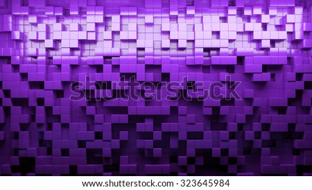 Abstract background with cubes in different levels. Purple 3D illustration - stock photo