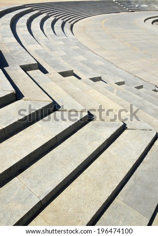 Abstract background with curly stone stairs