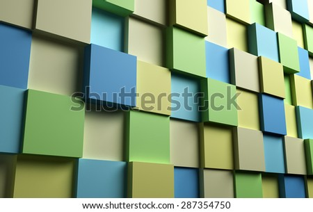 Abstract background with 3d cubes surface, pastel color square blocks illustration - stock photo