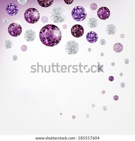 Abstract background with diamonds and  gemstones - stock photo