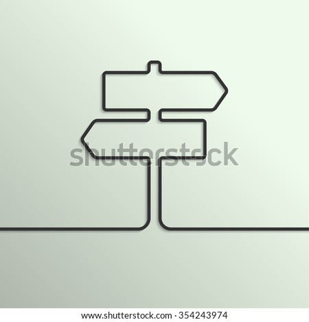 abstract background with direction arrow sign. The concept of a decision making standing on road junction. Movement in an unknown direction. uncertainty choice  - stock photo