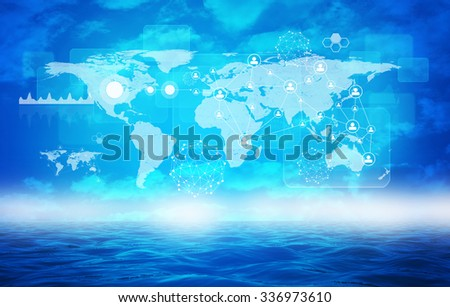 Abstract background with earth map and graphs