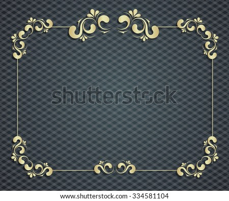 Abstract background with exclusive, antique, luxury vintage, gold frame, creative