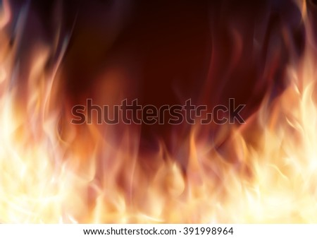 Abstract background with fire flames frame and copyspace for text. Burning fire frame. Fiery Background. Campfire. Transparent fire flames - stock photo