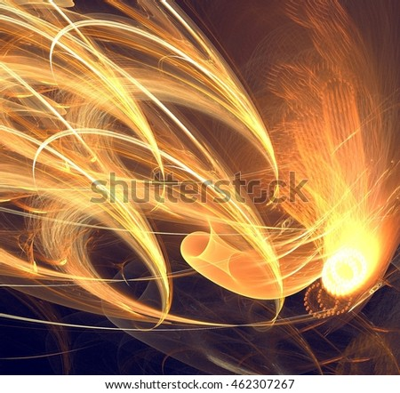 Abstract background with fire lines, futuristic flare waves