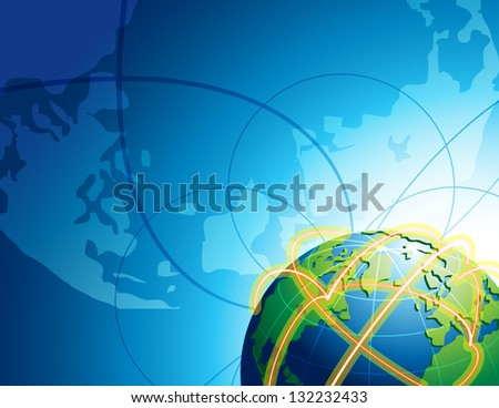 Abstract background with globe in space. Earth with light traces on surface of planet.