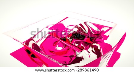 Abstract background with glossy pink sculpture, 3 d render - stock photo