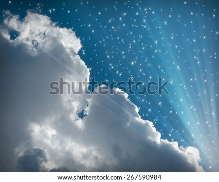 Abstract background with glowing sun with blue sky and white clouds - stock photo