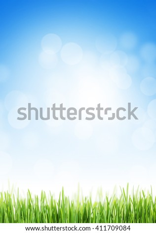 Abstract background with grass and sky