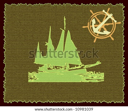 Abstract background with green vessel shape, anchor and wooden steering wheel - stock photo