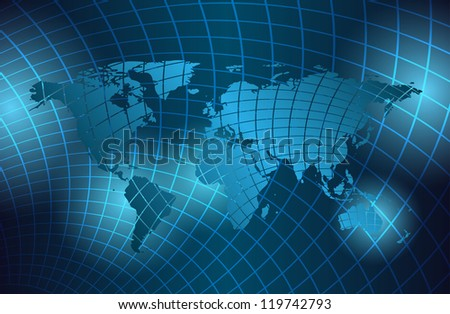 abstract background with grid and map of the world