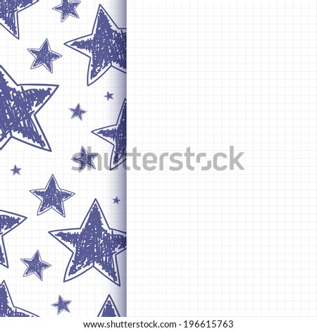 Abstract background with hand drawn stars on squared paper