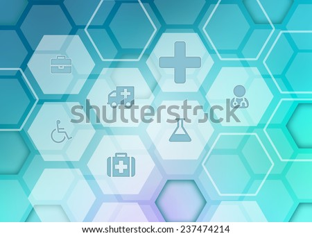 Abstract background with icons on the medical theme - stock photo