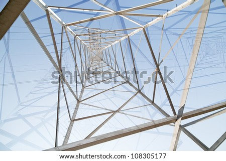 abstract background with inside of steel pylon