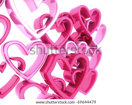 Abstract background with lot of soft pink hearts - stock photo