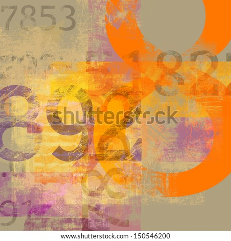 Abstract background with numbers and letters composition - stock photo