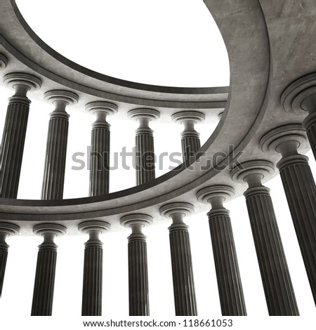abstract background with Old columns is ancient style. High resolution Realistic 3D illustration sepia toned